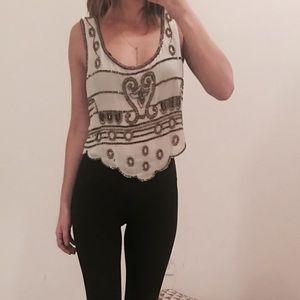 Hazel embroidered cropped sleeveless blouse