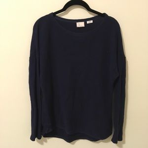 Anthro Postage Stamp Navy Knit Long Sleeve Shirt