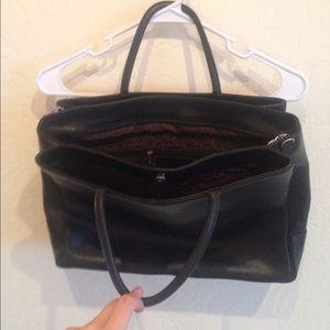 Topshop Handbags - Lemarthe black leather bag with 3 divider pockets