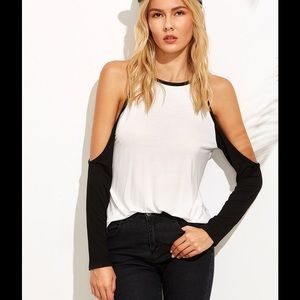 Tops - White Raglan Sleeve Cold Shoulder T-shirt