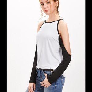 Tops - White Raglan Sleeve Cold Shoulder T-shirt