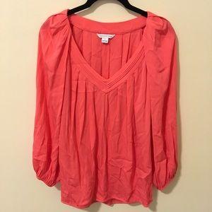 Diane von Furstenberg Tops - DVF Hot Pink Silk Pleated Blouse Top