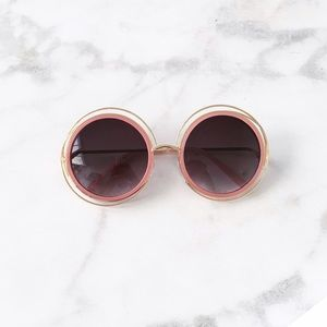 Style Link Miami Accessories - ▫️2/$22▫️OVERSIZED GOLD/ PINK ROUND SUNGLASSES