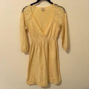 Ella Moss Dresses & Skirts - Ella Moss Yellow Crochet Skater Dress
