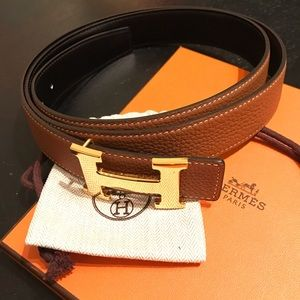 Hermes Accessories - Hermes H Buckle Belt in Tan / Black leather