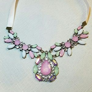 Gorgeous Crystal and ribbon statement necklace