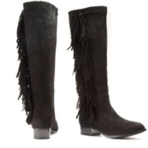 Olive Street Shoes - Olive Street Microsuede Fringed Knee High Boots