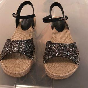 Black/silver glitter Shoe Dazzle espadrilles sz 10