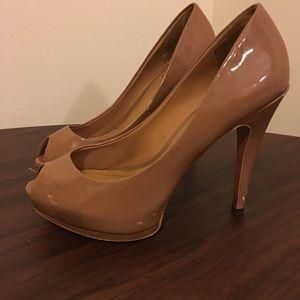 Zara nude Patent peep toe pump sz 38
