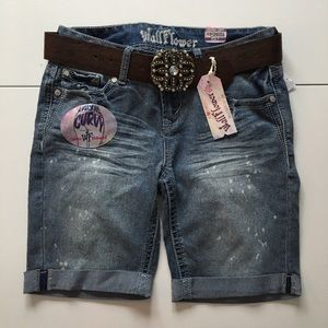 Wallflower Pants - BRAND NEW Denim Distressed Belted Bermuda Shorts