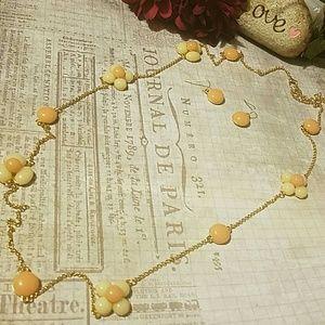 """Ami Jewelry - 32+"""" Goldtone Flower Necklace Set"""