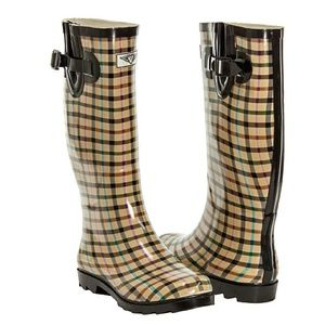 Forever Young  Shoes - Women Plaid Tall Rainboots, #1415, Checkers