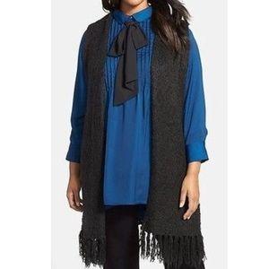 Melissa McCarthy Sweaters - Melissa McCarthy Seven7 Fringed Sweater Vest Black