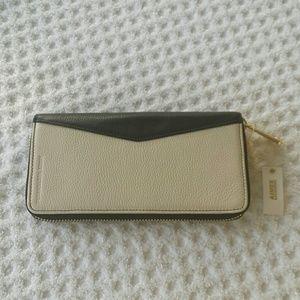 Aimee Kestenberg Black Bone Wallet Clutch Leather