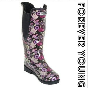 Forever Young  Shoes - Women Tall Lined Cowboy Rainboots, #1526, Garden