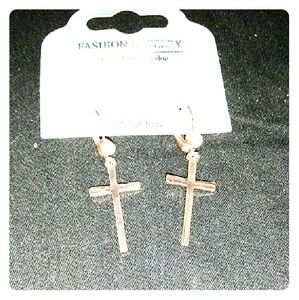 Jewelry - Nickel free Gold and CZ Cross Earrings NWT