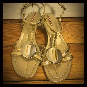 Prada gold wedge strap sandals