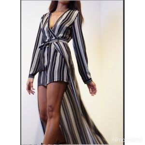 anawatboutique Pants - Stripe Wrap Romper
