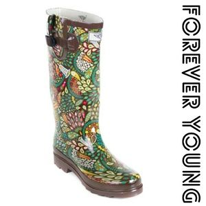 Forever Young  Shoes - Women Knee high Rainboots, #1513, Rainforest
