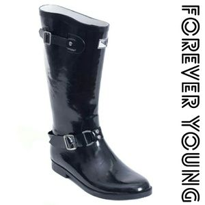 Forever Young  Shoes - Women Knee-high Rainboots, #1537, Black