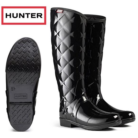 63% off Hunter Shoes - Hunter Regent Savoy Rain Boots Glossy Black ... : hunter boots quilted - Adamdwight.com