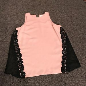 Lovely black lace and pink blouse