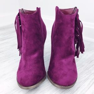 Jennifer's Chic Boutique Shoes - Plum Fringe Booties