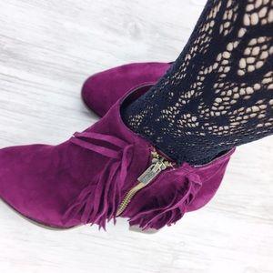 Jennifer's Chic Boutique Shoes - Plum Fringe Booties