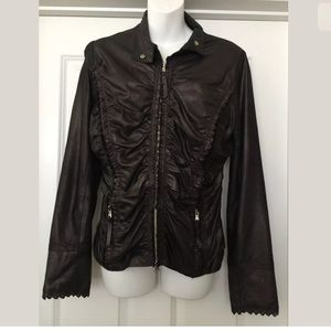Scully Jackets & Blazers - Scully zip up leather Ruffle trim jacket Sz M