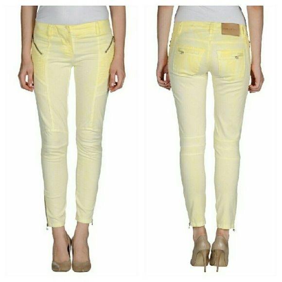 d52f3199 Balmain Denim - Pierre Balmain Moto Yellow light wash Jeans