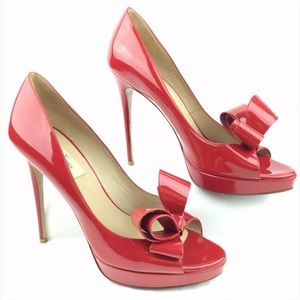Valentino Shoes - Valentino Bow Red Patent Leather Platform Pumps