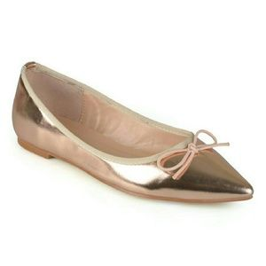 Journee Collection Shoes - Journee Collection Pointed Ballet Flags rose gold