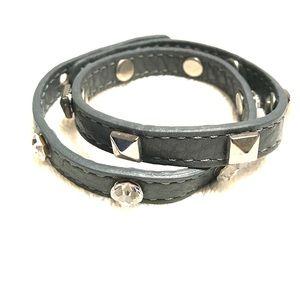 Gray double loop leather bracelet w bling & studs
