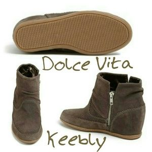 Dolce Vita Keebly Gray Perforated Suede Wedge