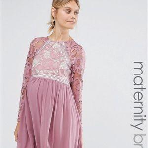 Little Mistress Dresses & Skirts - Little Mistress Maternity Long Sleeve Lace Skater