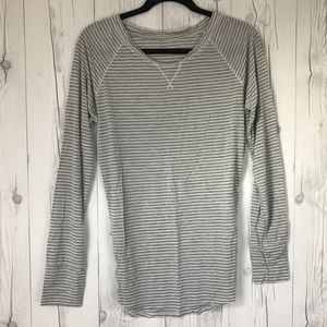 GAP Tops - Gap Body Grey & White Stripe Shirt