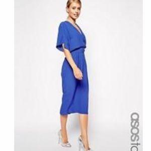 ASOS Tall Cobalt Blue Midi Kimono Sleeve Dress 0