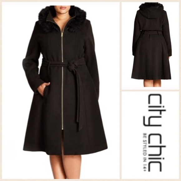 City Chic Jackets Coats Nwt 14 Plus Size Faux Fur Lined Hooded