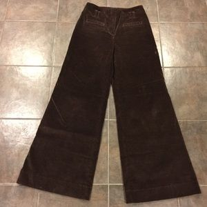 ANTHROPOLOGIE Cartonnier Wide Leg Brown Cord Pants
