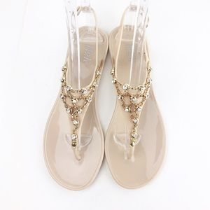 h2k Shoes - Jelly Jewel & Gold Nude Adjustable Flat Sandals