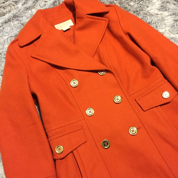 Michael Kors - Michael Kors Wool Manderin Orange Peacoat from ...