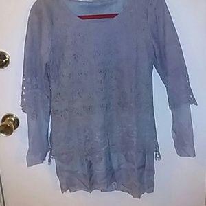 Tops - Lace Chiffon Lagenlook Tunic