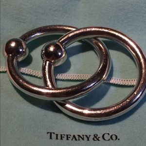 Vintage Tiffany Two Ring Strlng Silver Baby Rattle
