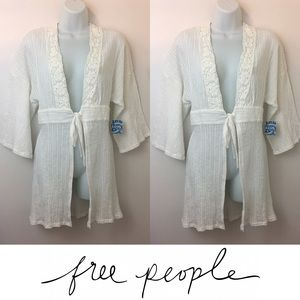 Free People Tops -   Free People   White Tie Open Front Lace Tunic
