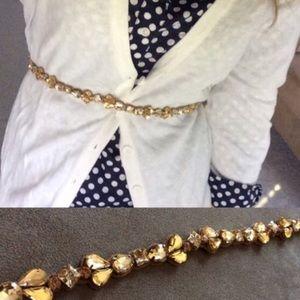 NWT anthropologie gold rhinestone skinny belt m