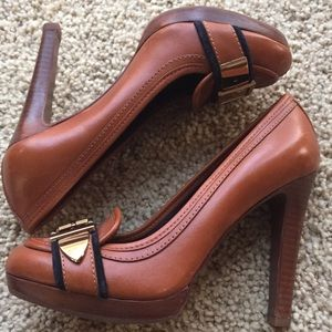 "Gorgeous Tory Burch brown 4.5"" heels sz 8"