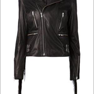 BLK DNM Jackets & Blazers - BLK DNM Fringed Biker Leather Jacket 10