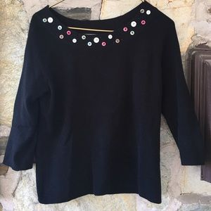 White Stag Sweaters - Button collar black sweater. Sz medium. So cute!