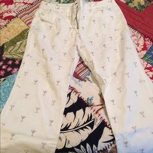 JCrew White Martini Glass Print Ankle pants