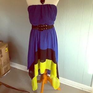 Fun Paper Doll Handkerchief Dress 2x blue blk neon